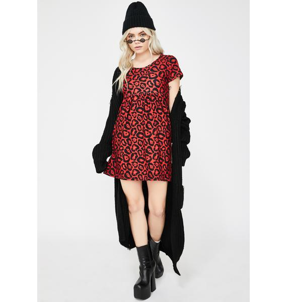Too Fast Red Leopard 90s Babydoll Dress