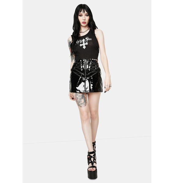 Devil Fashion Vinyl Lace-Up Mini Skirt