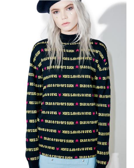 x X-Girl Navy Turtle Neck Sweater