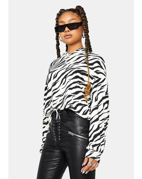 Good Looking Crop Zebra Print Hoodie