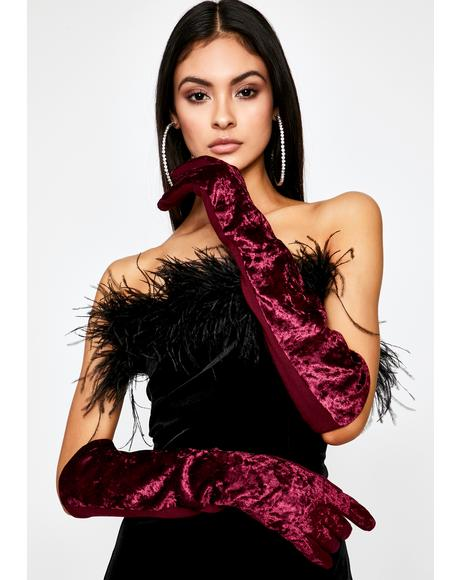 Wine Subtle Seduction Velvet Gloves