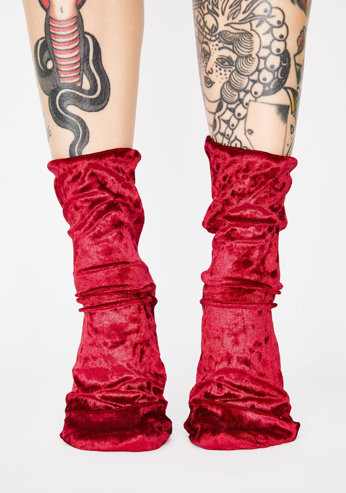 Cherry Dance Hall Velvet Crew Socks