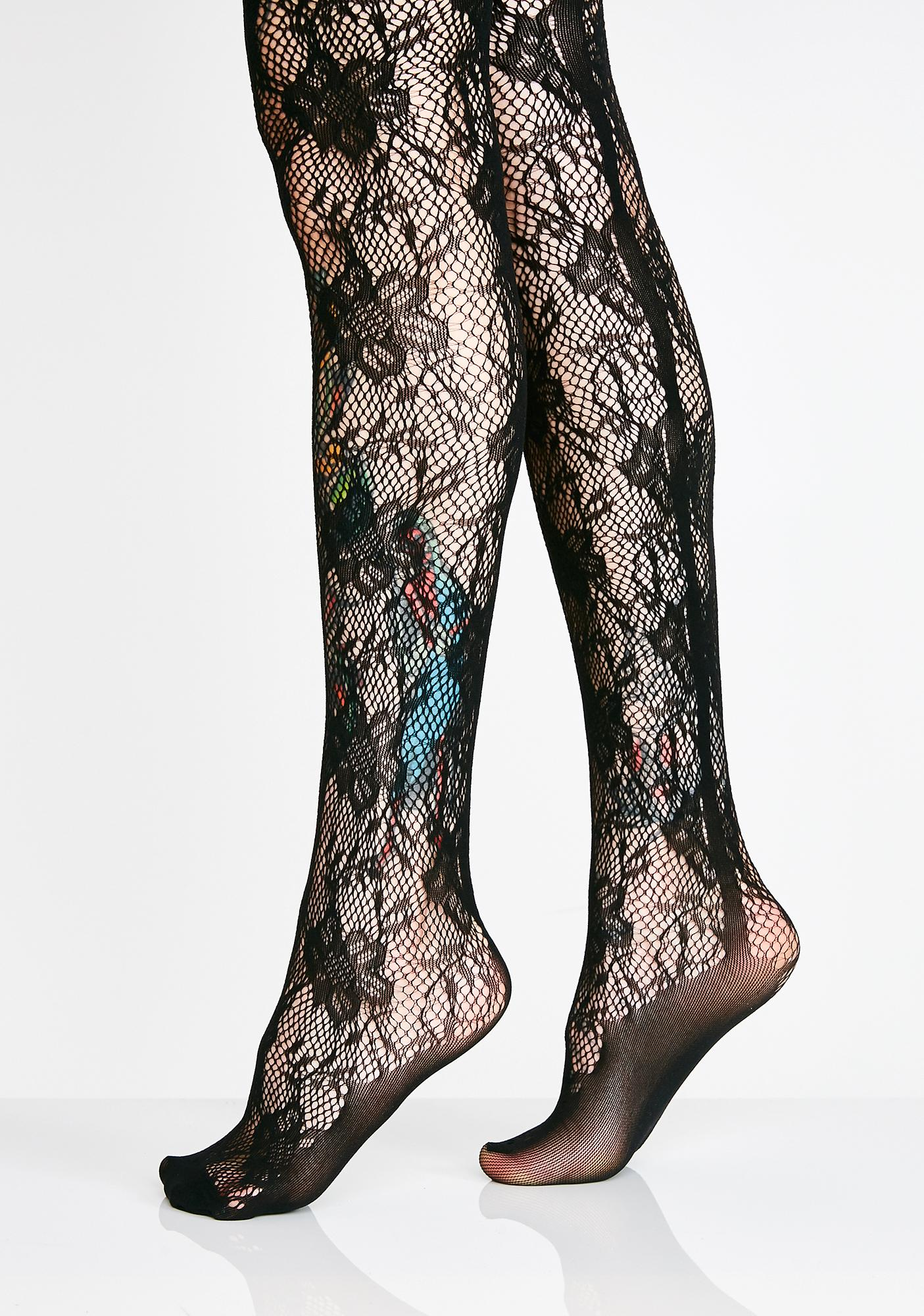 574b8f56069 Crotchless Lace Suspender Tights