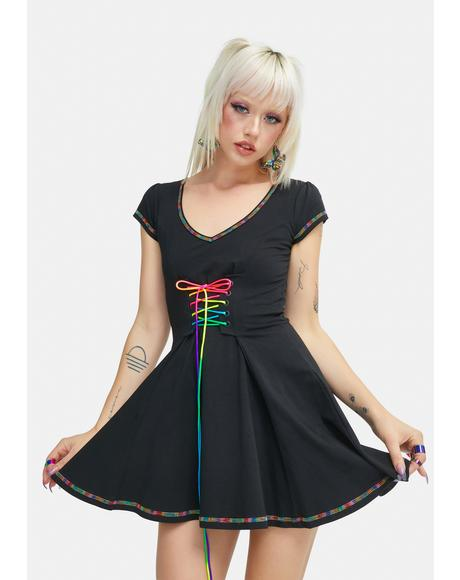 Vibrant Mood Lace Up Dress