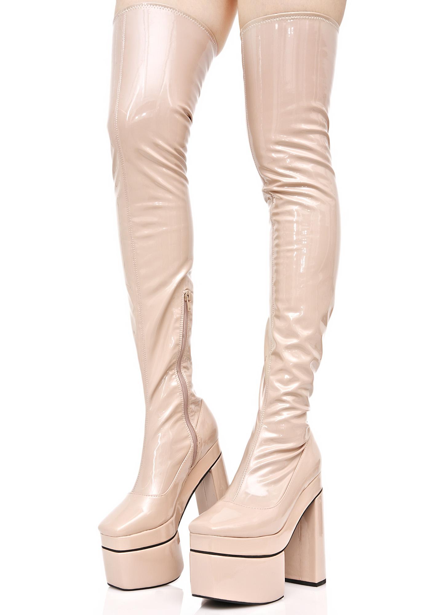 Peach Vinyl Thigh High Platform Boots