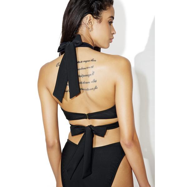 Jaded London Embroidered Choker Mesh Bikini Top