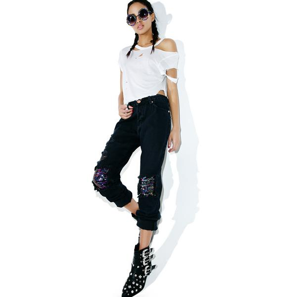 Glamorous Sequin Distressed Jeans
