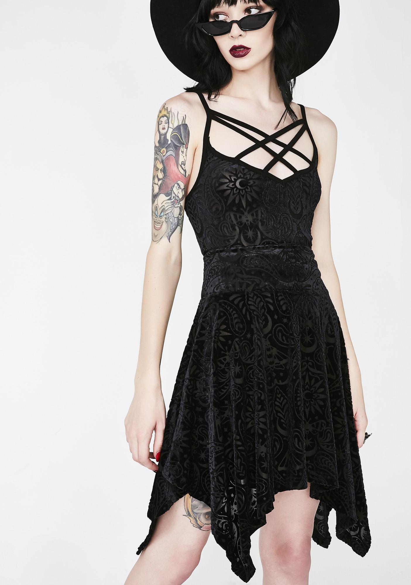 Killstar Etta Burnout Velvet Skirt