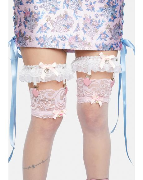 Pure Love Me Harder Ruffle Bow Garters