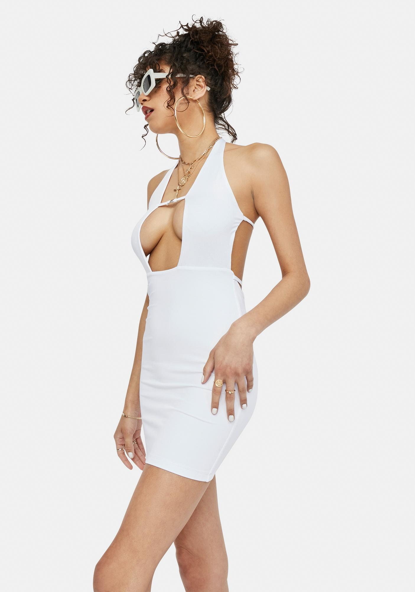Icy Leveled Up Slinky Halter Mini Dress