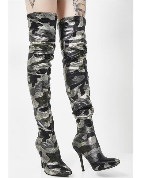 Glam Campaign Thigh High Camo Heels