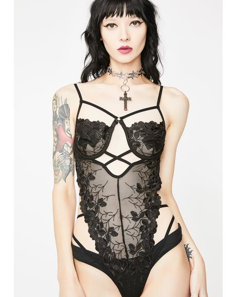 Nightfall Fatale Embroidered Teddy