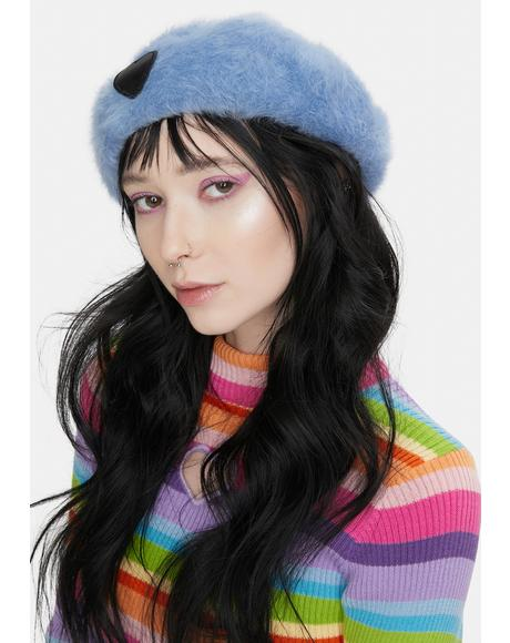 Ain't Easy Being Blue Fuzzy Heart Beret