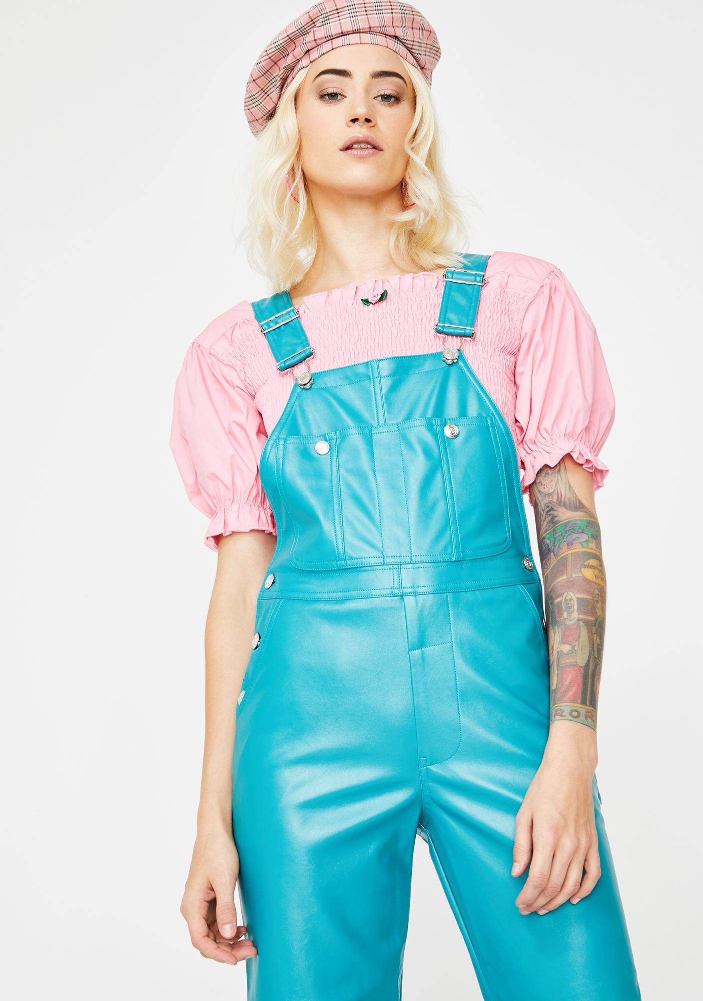 Little Sunny Bite Fake Leather All In One Overalls