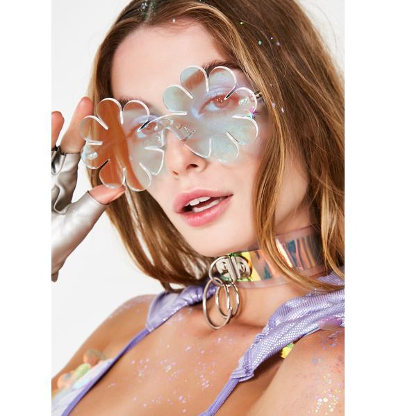 Animal Hair Iridescent Daisy Sunglasses