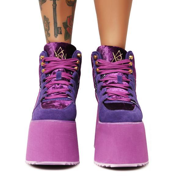 Y.R.U. Violet Qozmo 2 Platform Sneakers