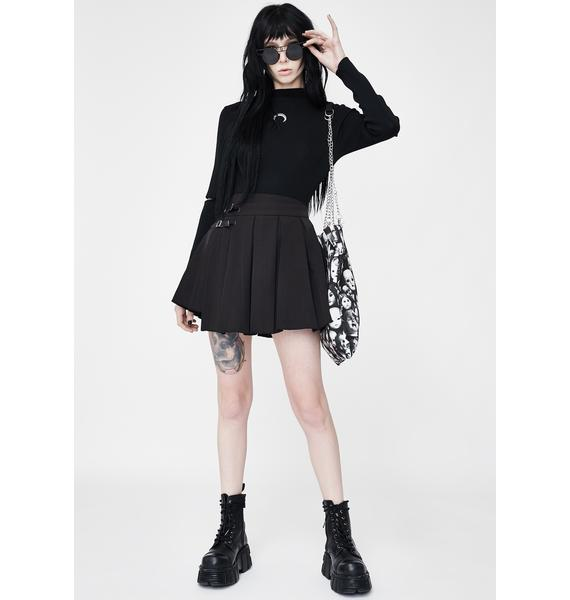 Punk Rave Upside Down Buckle Pleated Skirt