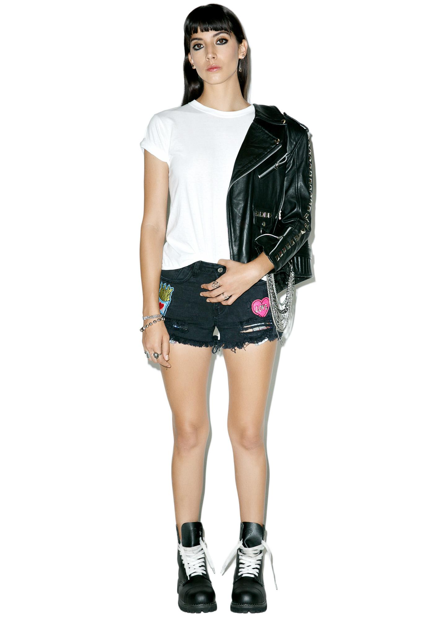 Lazy Gurl Patched Shorts