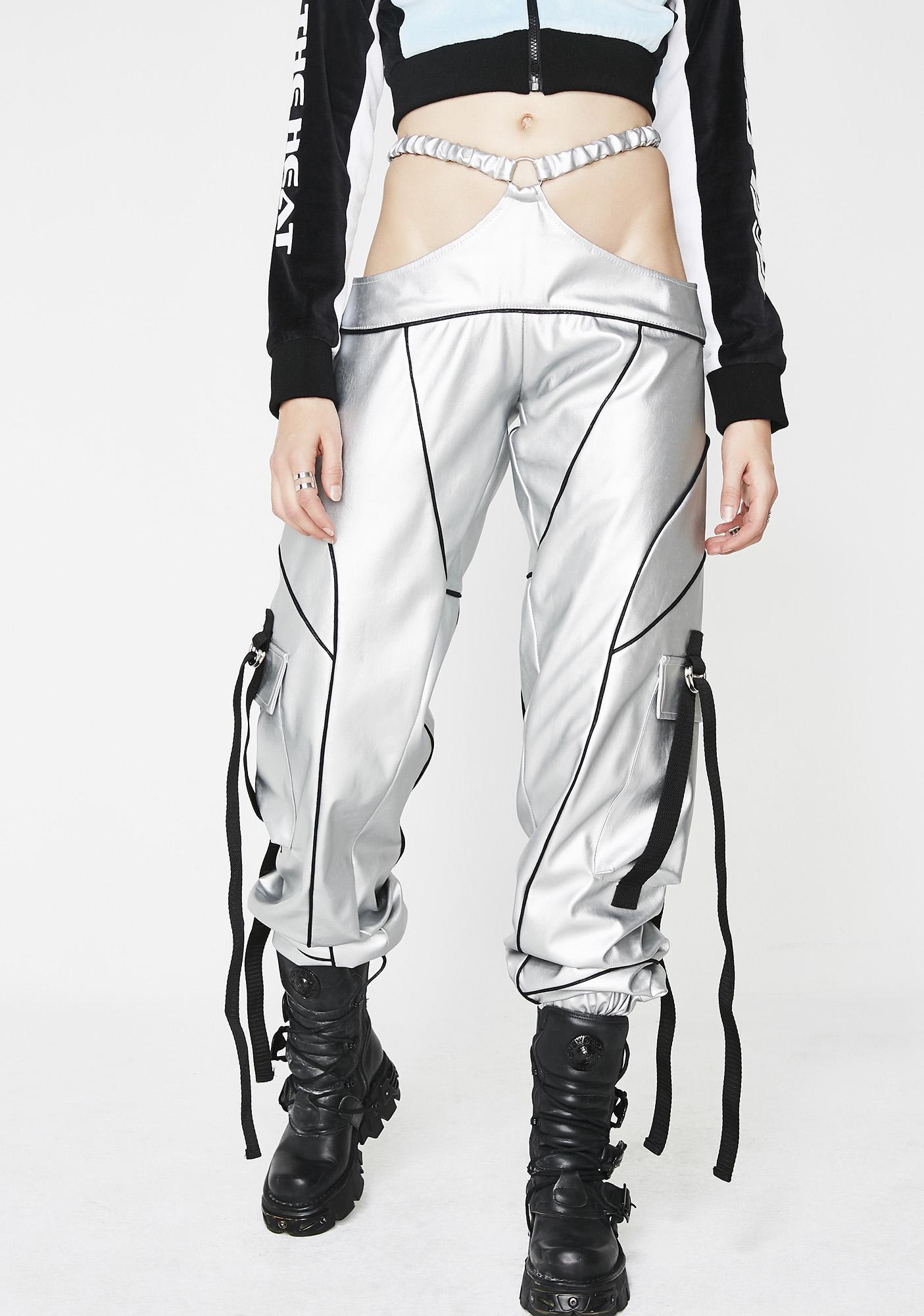 Namilia Silver Motocross G-String Pants