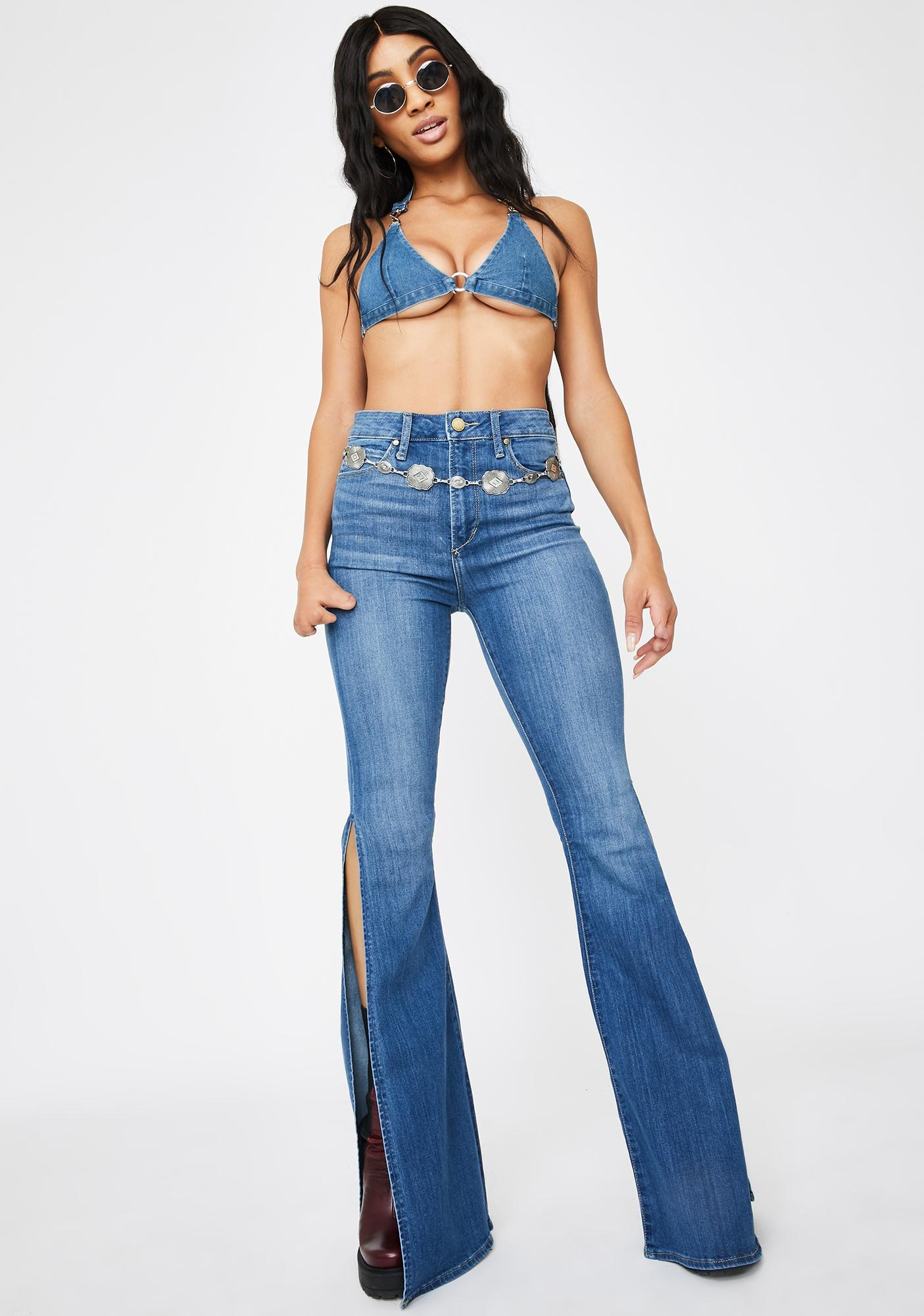 Articles Of Society Bridgette Flare Split Hem Denim Jeans Dolls Kill