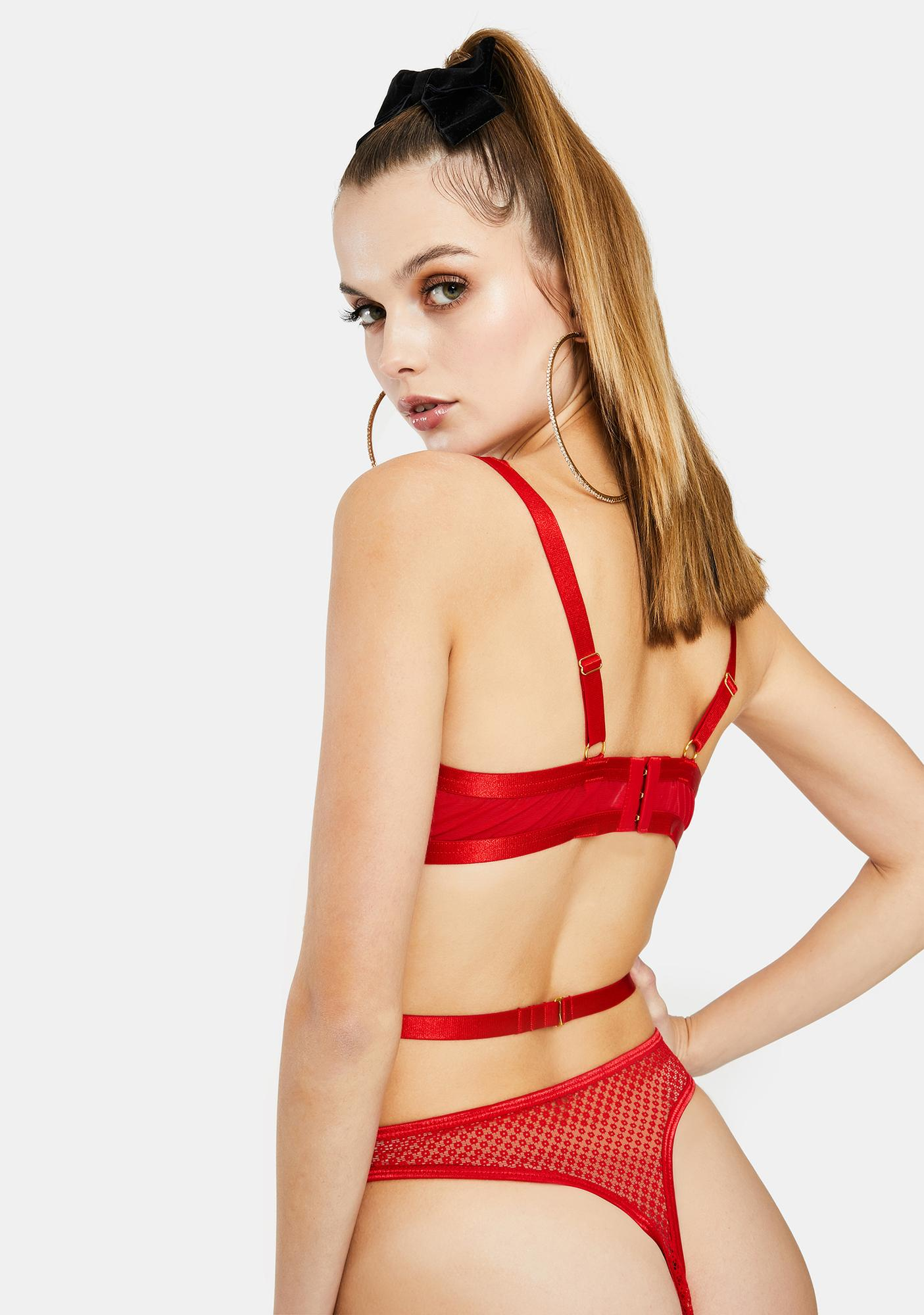 Wolf & Whistle Nevada Satin Lace Strappy Bra