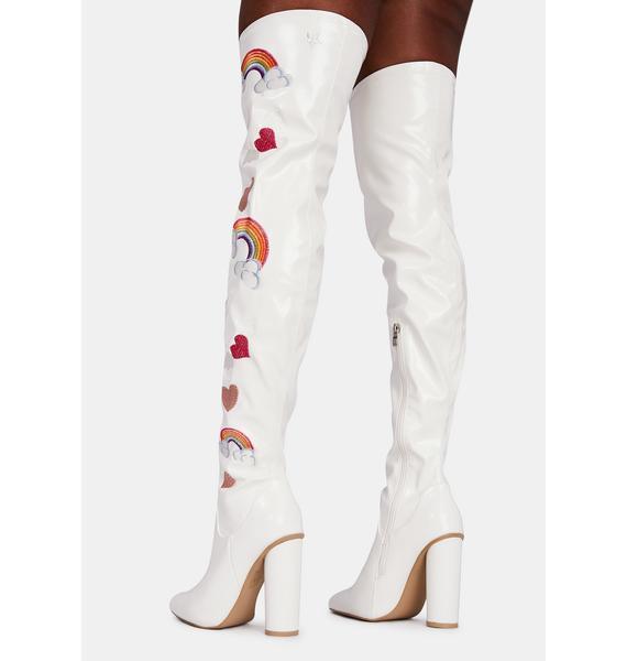 Koi Footwear Rainbow Heart Thigh High Boots