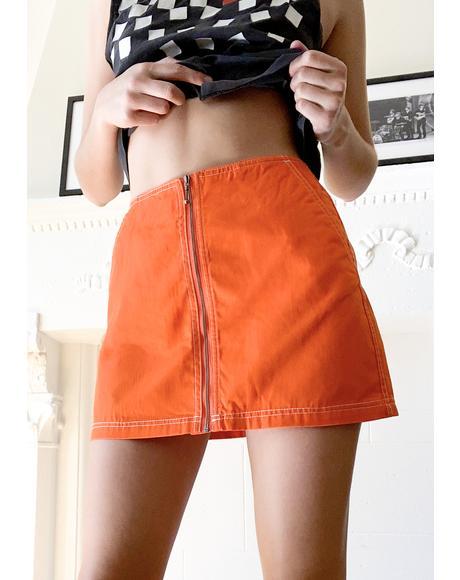 Flame Orange Bailey Mini Skirt