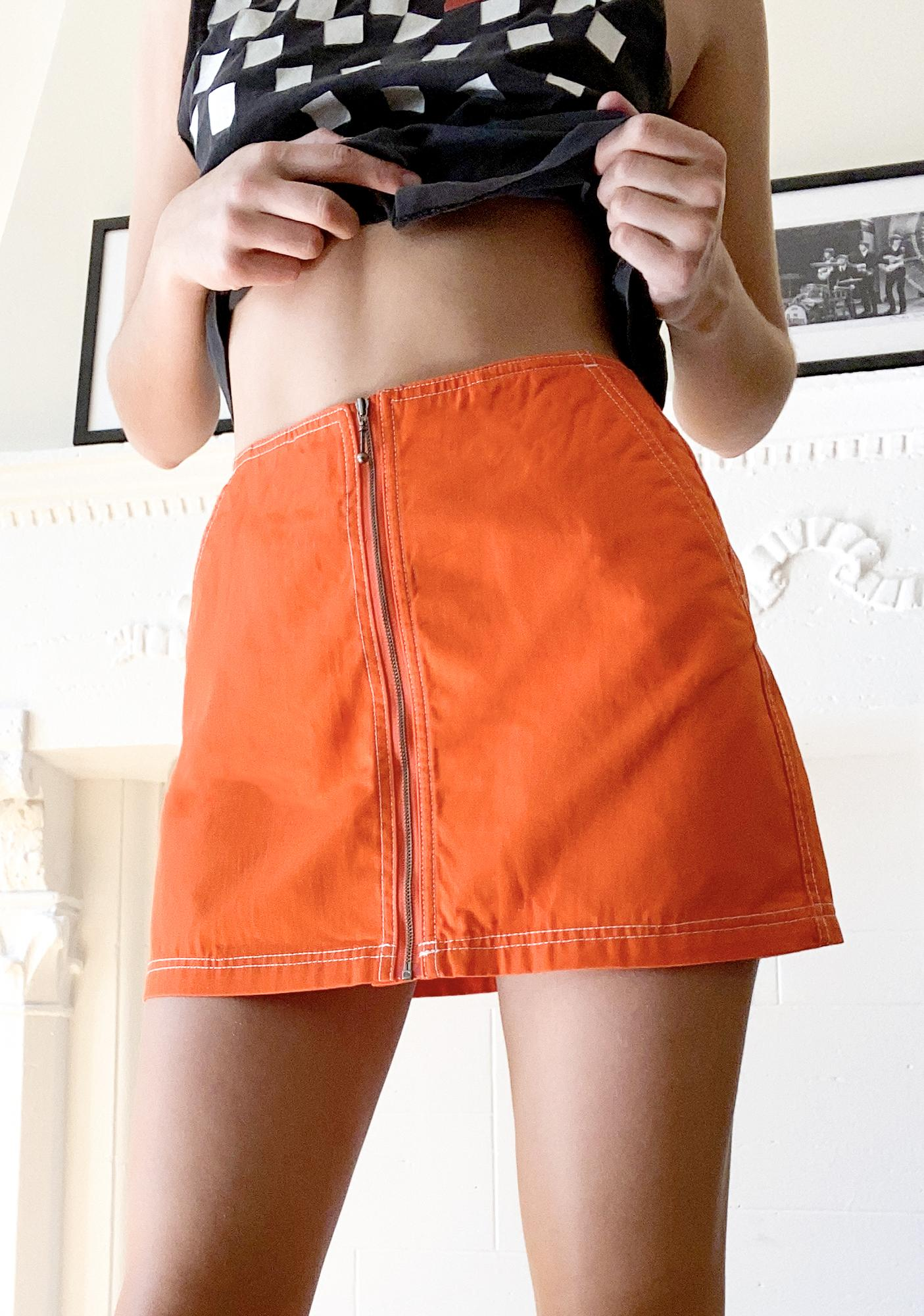 Obey Flame Orange Bailey Mini Skirt