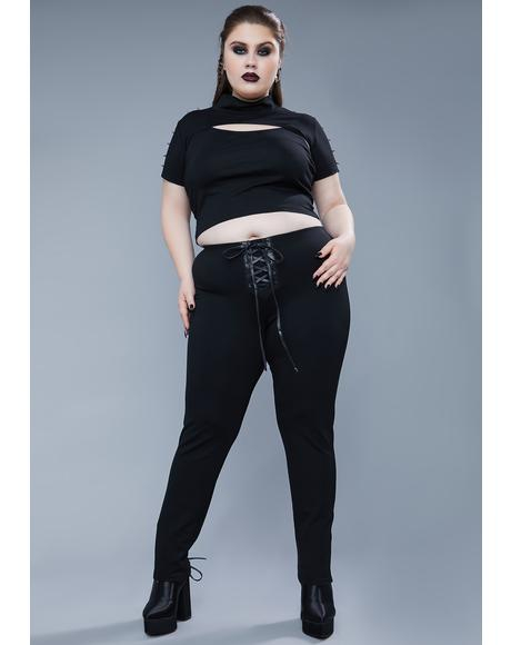Her Mortal Enemy Lace Up Leggings