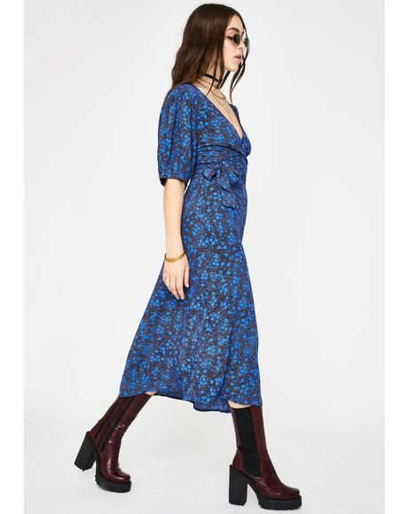 Blue Ditsy Floral Midi Dress