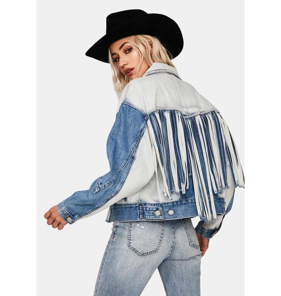 Blank NYC Bonnaroo Denim Fringe Jacket