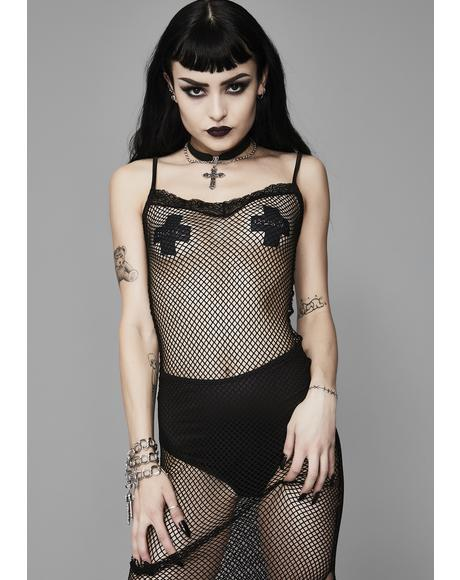 Moonlight Fire Fishnet Dress