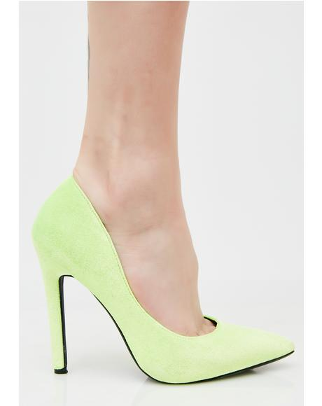 Lime Brisk Walk Velvet Pumps