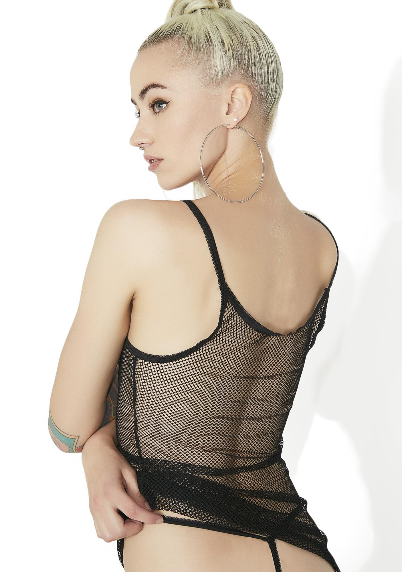 Power Play Fishnet Slip Dress