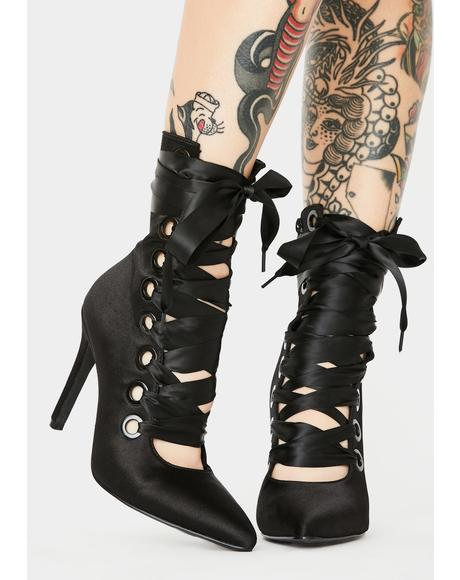 All Night Long Satin Heels