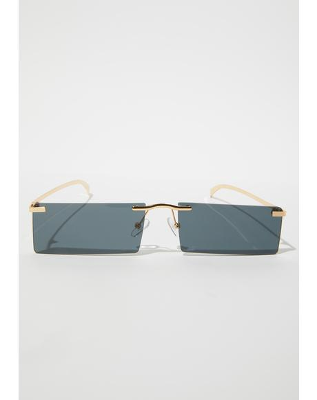 Noir Lil Bit Shady Frameless Rectangle Sunglasses