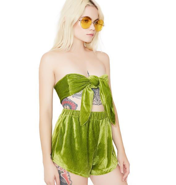 O Mighty Lime Velvet Baby Set