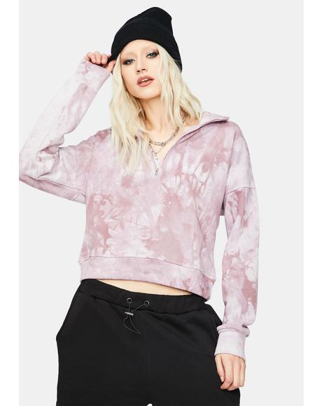 Grape About The Vibe Tie Dye Cropped Pullover