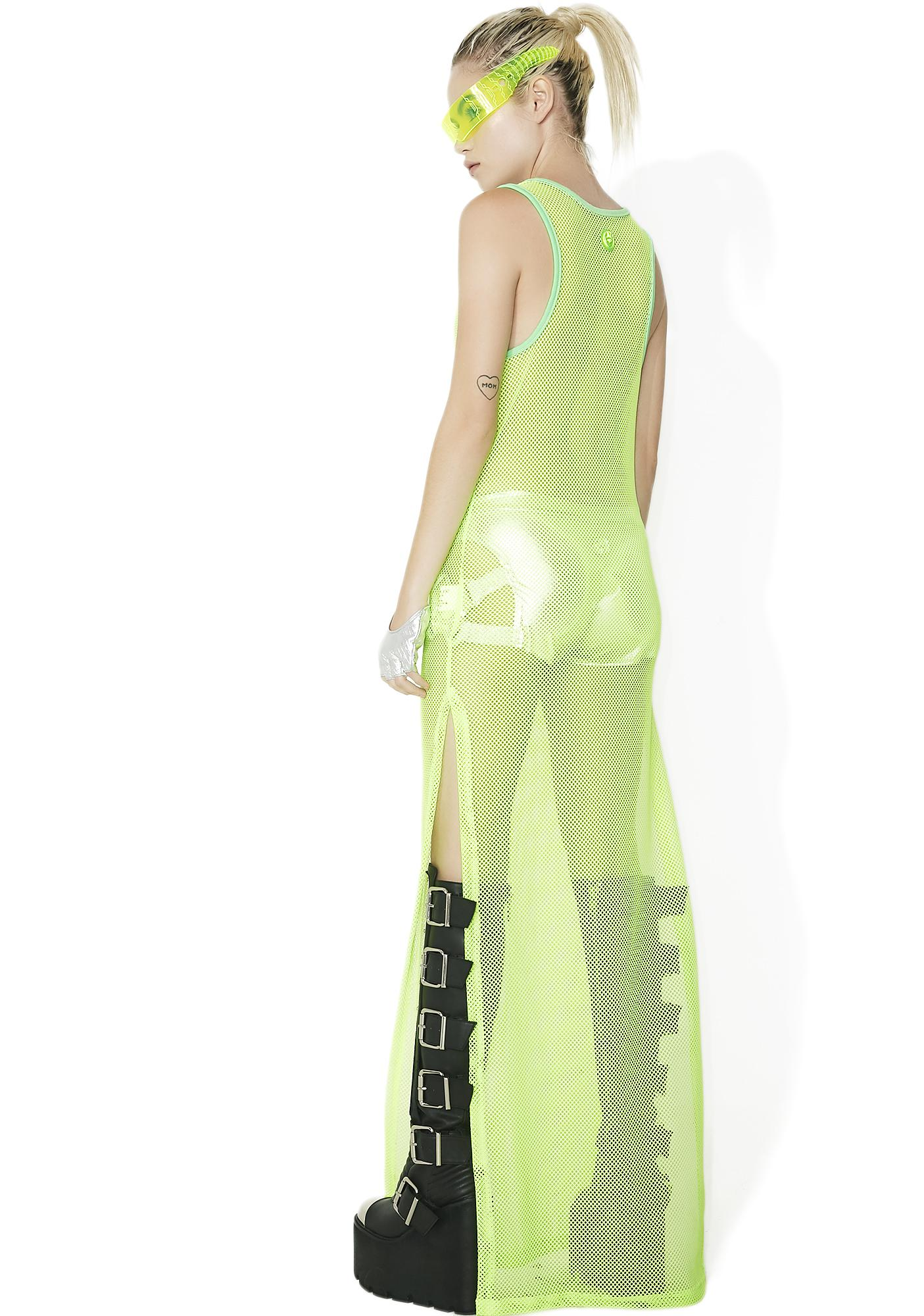 Cyberdog Lime Rocker Mesh Maxi Dress