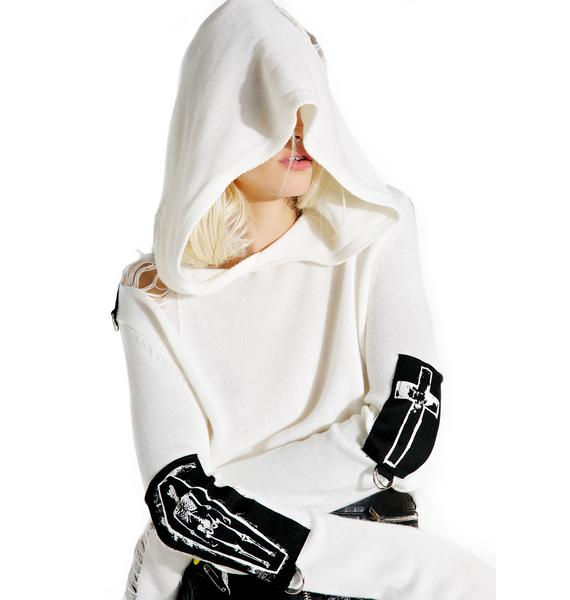 Current Mood Ivory Warped Shredded Sweater