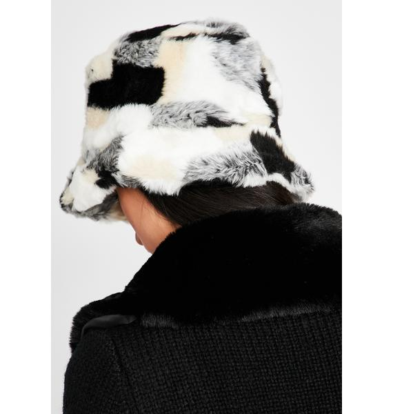 Patchwork Powder Plush Bucket Hat