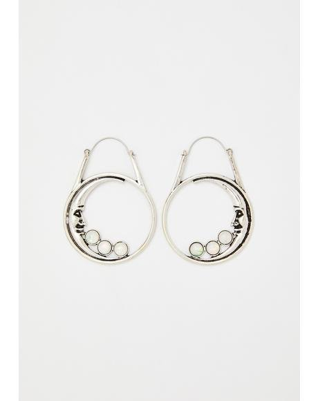 Man In The Moon Hoop Earrings