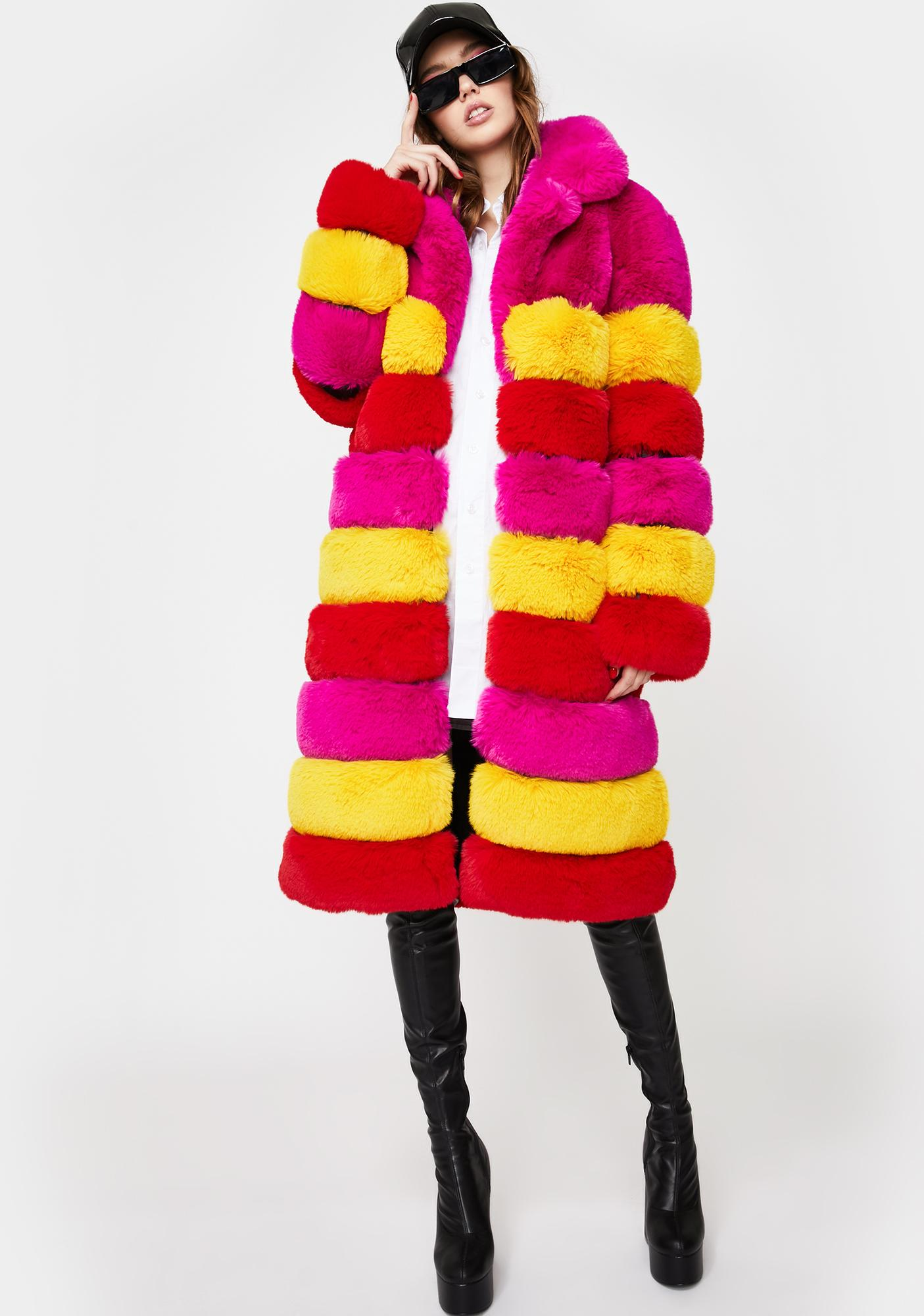 AZALEA WANG Rami Faux Fur Long Coat