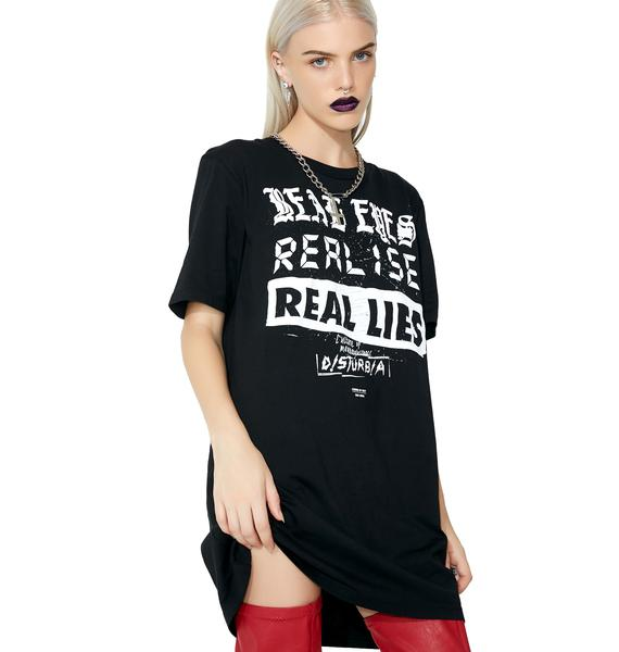 Disturbia Real Eyes Longline T-Shirt