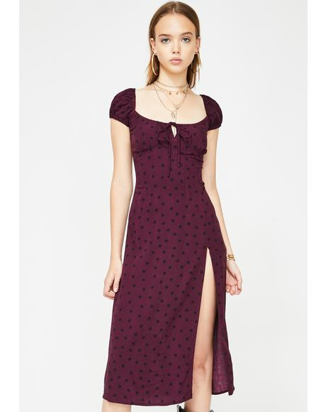 Wine Milla Midi Dress