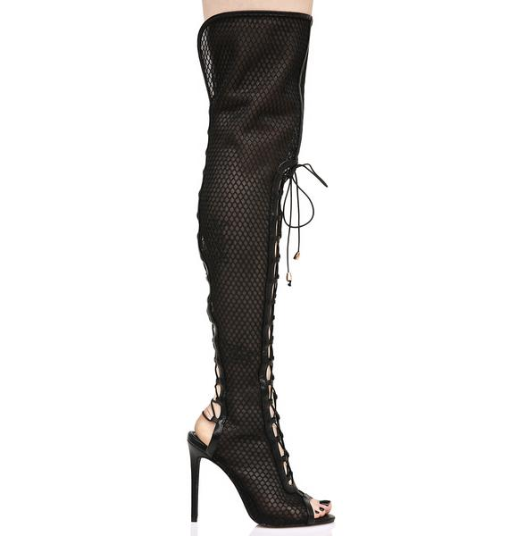 Midnight Slay The Game Thigh-High Boots