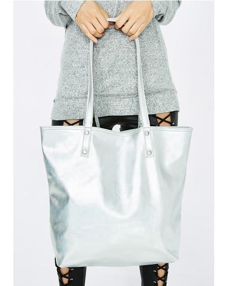 Space Odyssey Metallic Tote