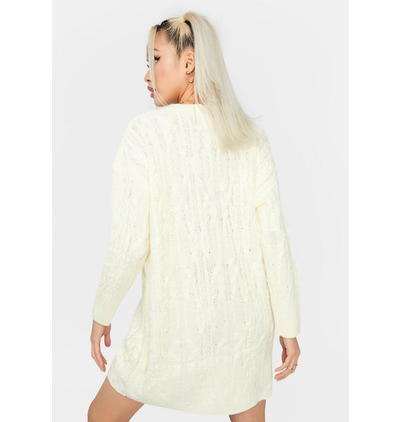 Cream Cuddle Weather Sweater Dress