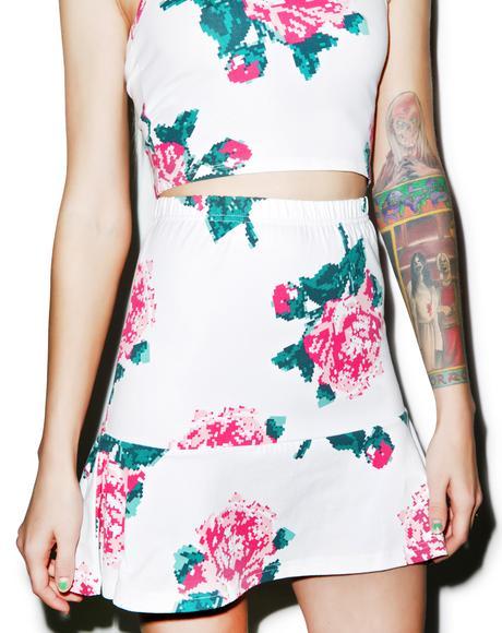8bit Floral Fit & Flare Skirt