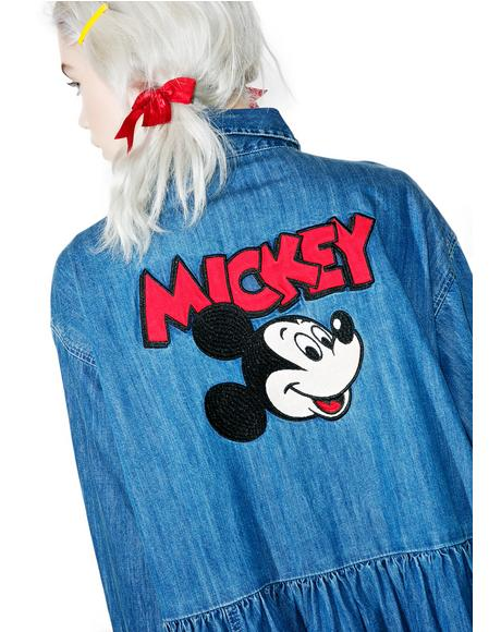 X Disney Mickey Mouse Loose Denim Dress